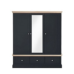 Corndell - Lime oak and black 'Oxford' triple wardrobe with drawers