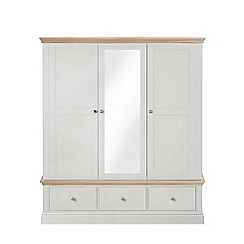 Corndell - Lime oak and grey 'Oxford' triple wardrobe with drawers