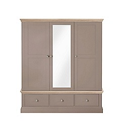 Corndell - Lime oak and dark grey 'Oxford' triple wardrobe with drawers