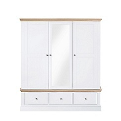 Corndell - Lime oak and white 'Oxford' triple wardrobe with drawers