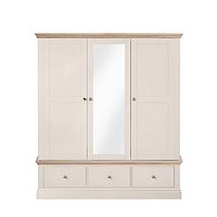 Corndell - Lime oak and cream 'Oxford' triple wardrobe with drawers