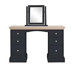 Corndell - Lime oak and black 'Oxford' dressing table with mirror