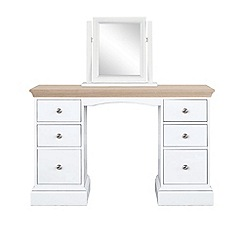 Corndell - Lime oak and white 'Oxford' dressing table with mirror