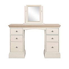 Corndell - Lime oak and cream 'Oxford' dressing table with mirror
