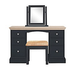 Corndell - Lime oak and black 'Oxford' dressing table with mirror and stool