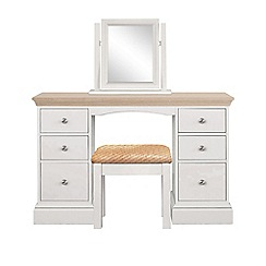 Corndell - Lime oak and grey 'Oxford' dressing table with mirror and stool