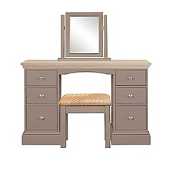 Corndell - Lime oak and dark grey 'Oxford' dressing table with mirror and stool
