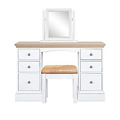 Corndell - Lime oak and white 'Oxford' dressing table with mirror and stool