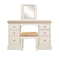 Corndell - Lime oak and cream 'Oxford' dressing table with mirror and stool