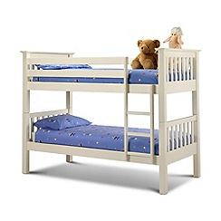 Julian Bowen - Soft white 'Barcelona' bunk bed with 'Premier' mattresses