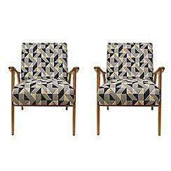 Debenhams - Set of 2 geometric 'Kempton' armchairs