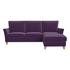 Debenhams - Velvet 'Abbeville' right-hand facing chaise corner sofa