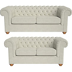 Debenhams - 3 seater and 2 seater brushed cotton 'Chesterfield' sofas