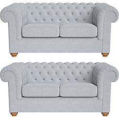 Debenhams - Set of two 2 seater brushed cotton 'Chesterfield' sofas