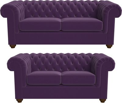 3 Seater And 2 Seater Velvet U0027Chesterfieldu0027 Sofas