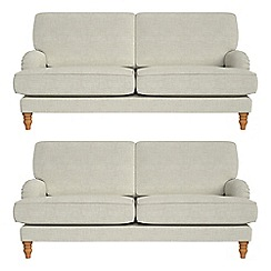 Debenhams - Set of two 3 seater brushed cotton 'Eliza' sofas