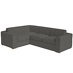 Debenhams - Large tweedy fabric 'Jackson' left-hand facing corner sofa end