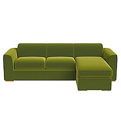 Debenhams - Velvet 'Jackson' right-hand facing chaise corner sofa