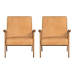 Debenhams - Set of 2 natural grain leather 'Kempton' armchairs