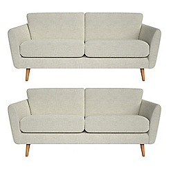 Debenhams - Set of two 3 seater brushed cotton 'Isabella' sofas