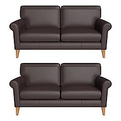 Debenhams - Set of two 2 seater luxury leather 'Arlo' sofas