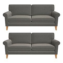 Debenhams - Set of two 3 seater natural grain leather 'Arlo' sofas