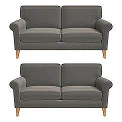 Debenhams - Set of two 2 seater natural grain leather 'Arlo' sofas