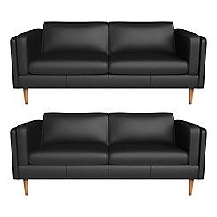 Debenhams - Set of two 3 seater luxury leather 'Lille' sofas