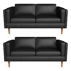 Debenhams - Set of two 2 seater luxury leather 'Lille' sofas