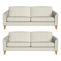 Debenhams - Set of two 3 seater textured weave 'Carnaby' sofas