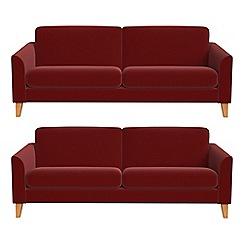 Debenhams - Set of two 3 seater velvet 'Carnaby' sofas