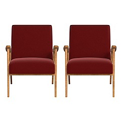 Debenhams - Set of 2 velvet 'Kempton' armchairs