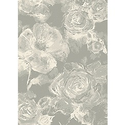Debenhams - Dark grey 'Echo' floral rug