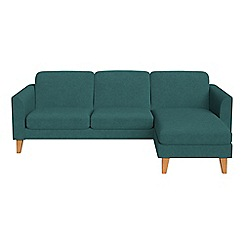 Debenhams - Velour 'Carnaby' right-hand facing chaise corner sofa
