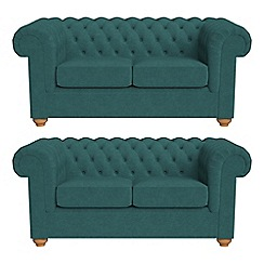 Debenhams - Set of two 2 seater velour 'Chesterfield' sofas