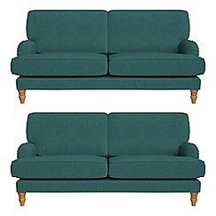 Debenhams - Set of two 3 seater velour 'Eliza' sofas