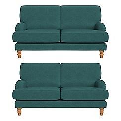 Debenhams - Set of two 2 seater velour 'Eliza' sofas