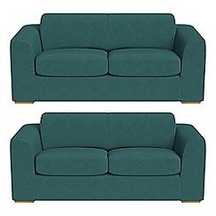 Debenhams - Set of two 3 seater velour 'Jackson' sofas