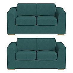 Debenhams - Set of two 2 seater velour 'Jackson' sofas