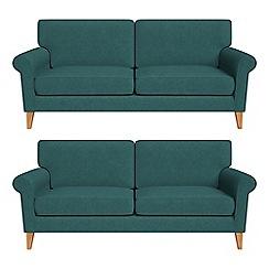 Debenhams - Set of two 3 seater velour 'Arlo' sofas