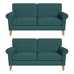 Debenhams - Set of two 2 seater velour 'Arlo' sofas