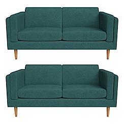 Debenhams - Set of two 2 seater velour 'Lille' sofas
