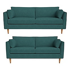 RJR.John Rocha - 3 seater and 2 seater velour 'Ravello' sofas