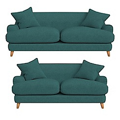 Debenhams - 3 seater and 2 seater velour 'Archie' sofas