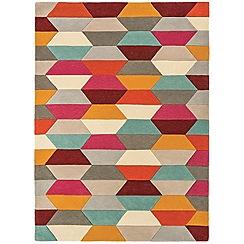 Debenhams - Red wool 'Funk Honeycomb' rug