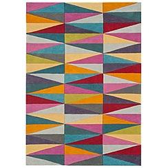 Debenhams - Multi-coloured wool 'Funk Triangles' rug