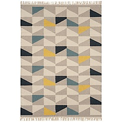 Debenhams - Yellow wool 'Geo Kelim' rug