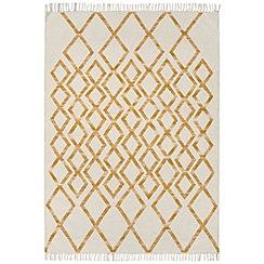 Debenhams - Yellow woollen 'Diamond Kelim' rug
