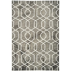 Debenhams - Grey wool 'Fresco Trellis' rug