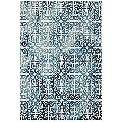 Debenhams - Blue wool 'Fresco Lattice' rug